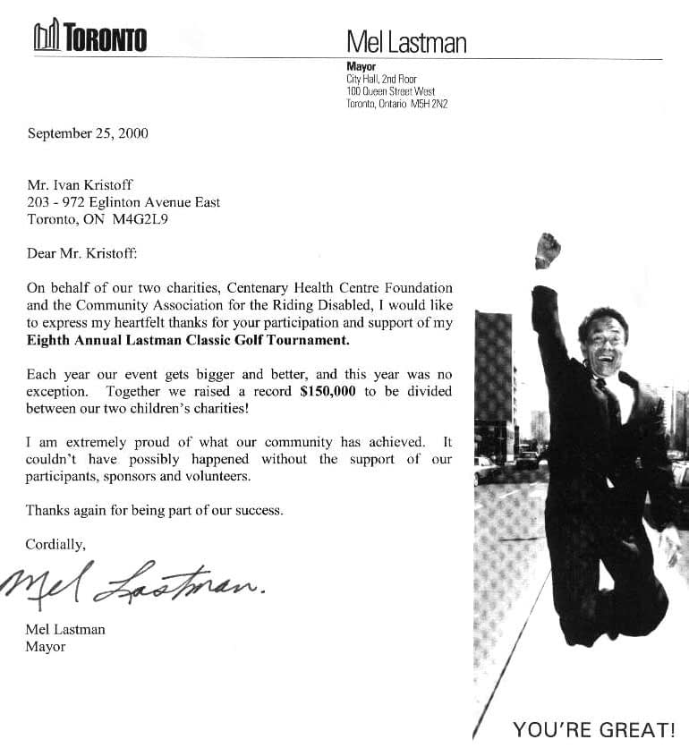 Mayor of Toronto writes to Spideman