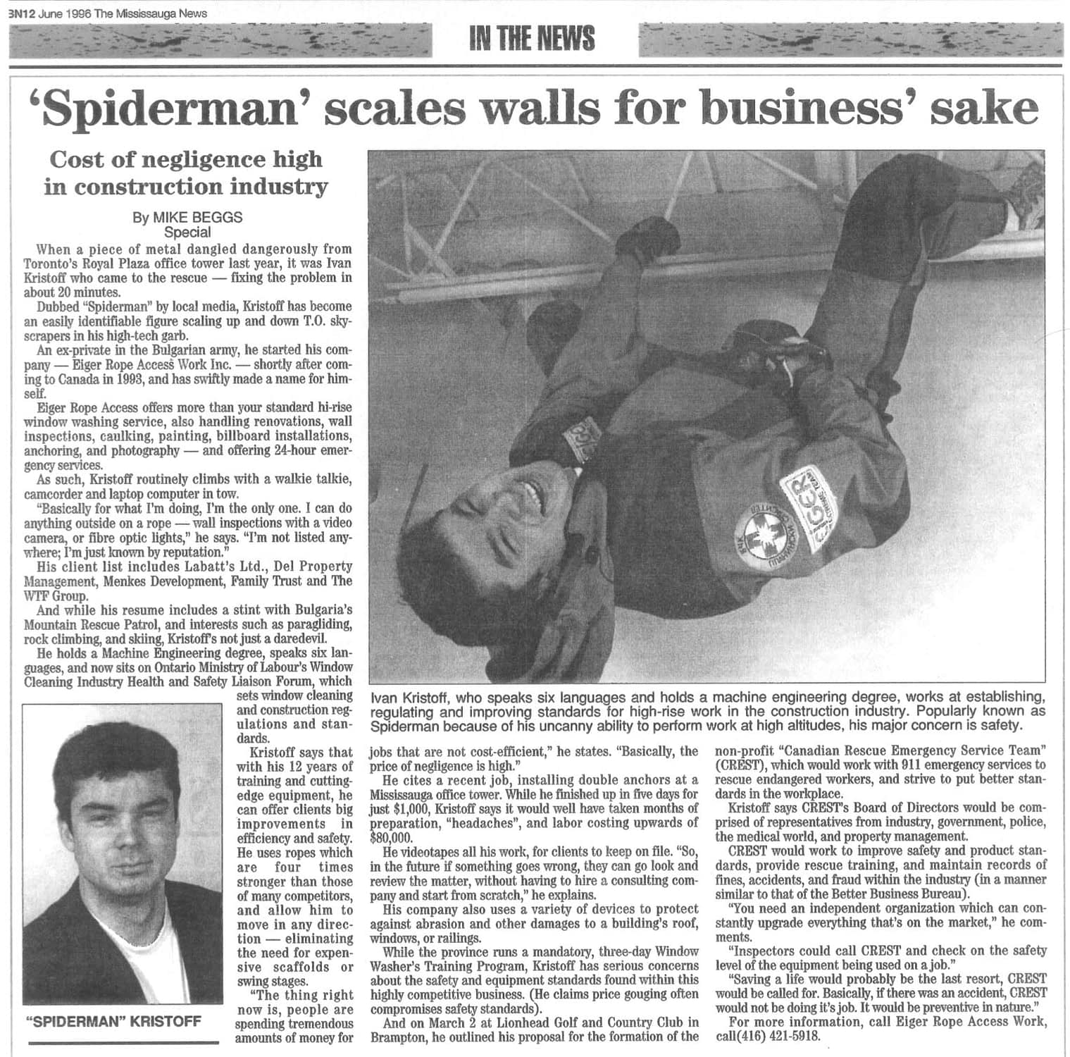 'Spiderman' scales walls for business' sake