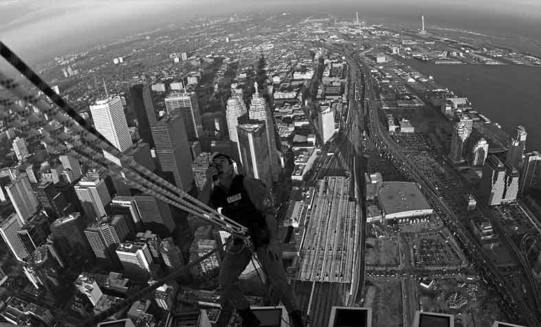 Extreme rope access on top of the CN Tower